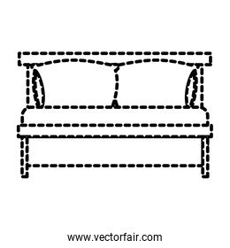 bed wooden with pillows dotted silhouette on white background