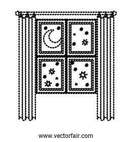 window in wooden with curtain and night landscape dotted silhouette on white background