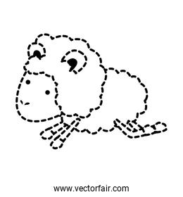 sheep animal jumping dotted silhouette on white background
