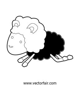 sheep animal jumping black color section silhouette on white background