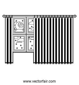 big window with curtain and night landscape black color section silhouette on white background