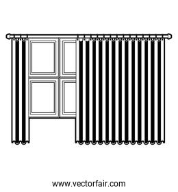 big window with curtain black color section silhouette on white background