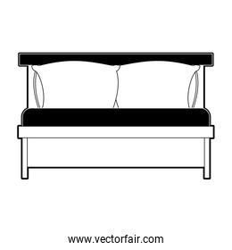 bed wooden with pillows black color section silhouette on white background