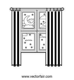 window with curtain and night landscape black color section silhouette on white background