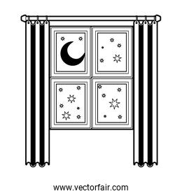 window in wooden with curtain and night landscape black color section silhouette on white background