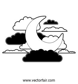 moon and clouds in night landscape black color section silhouette on white background