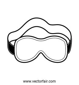 sleep mask black color section silhouette on white background