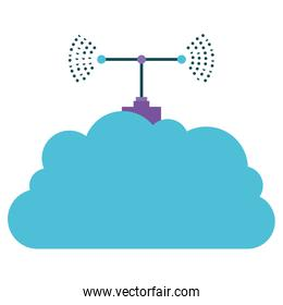 cloud storage with antenna colorful silhouette on white background