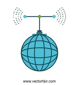 global grid map with antenna colorful silhouette on white background
