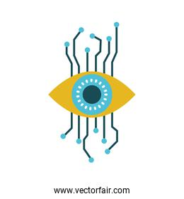 eye cyber security colorful silhouette on white background