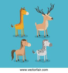 set animal caricature of wildlife in color background