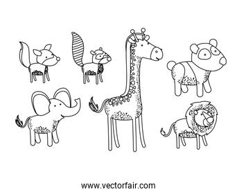 set animal caricature silhouette on white background