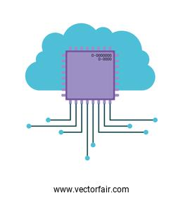 cloud storage data and microchip icon