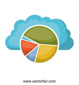 cloud storage data service icon and available space circular graphic shading