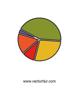 pie chart colorful silhouette with thick contour