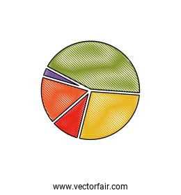 pie chart in color crayon silhouette