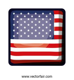 shield in square shape with flag united states of america colorful design on white background
