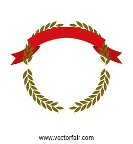 golden olive branches forming a circle with red ribbon on top