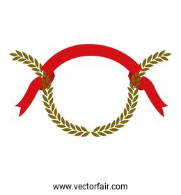 golden olive branches and red ribbon on top