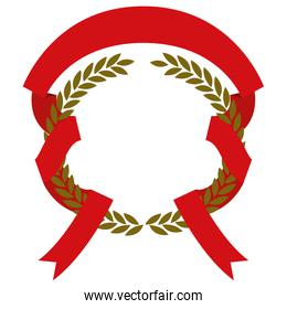 golden olive branches and red ribbon interlace