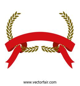 golden olive branches bow and red ribbon on bottom