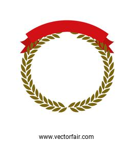 golden olive branches forming a circle with red ribbon thick on top