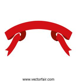 ribbon decorative in red color with folds