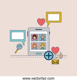 multimedia photo application in device tech tablet with icons on colorful decorative background