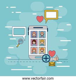 multimedia photo application in device tech smartphone with icons on colorful decorative background