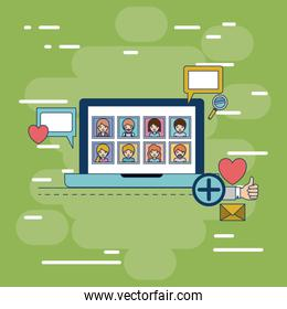 multimedia photo application in device tech laptop with icons on colorful decorative background