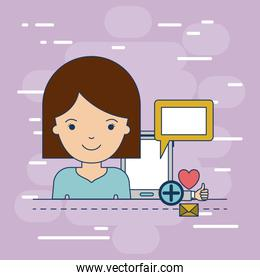 woman half body with multimedia application icons and device tech tablet on colorful decorative background