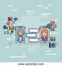 multimedia application icons in device tech smartphone communication between woman and man on colorful decorative background