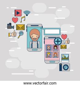 multimedia application icons with set device tech smartphone communication between woman and man on colorful decorative background
