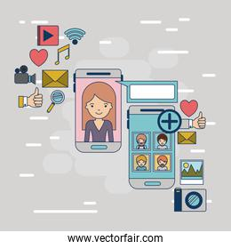 multimedia application icons with set device tech smartphone communication between woman and social people on colorful decorative background
