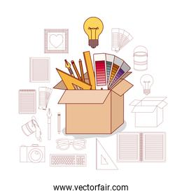 carton box in color with work elements inside and silhouette icons for graphic design on white background