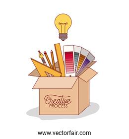 carton box with work elements inside graphic design creative process on white background