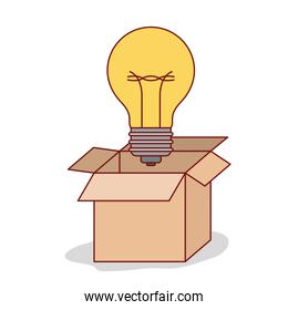 carton box with big light bulb outside on white background