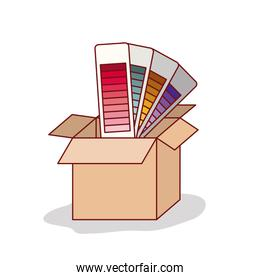carton box with set of color palette of gradient on white background