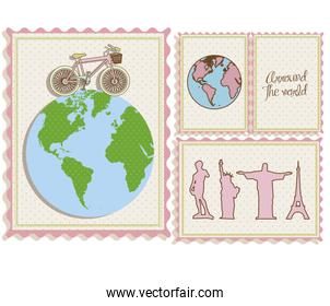 postal bike trip and illustrations of cities arround the world