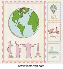 travel stamp illustrations and and cities around the world  vect