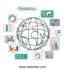 infographics and statistics with globe map
