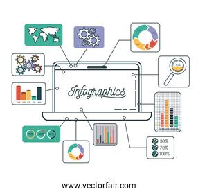 infographics and statistics with laptop computer