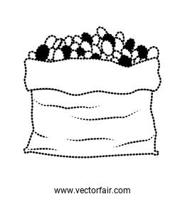 bag with coffee beans silhouette dotted monochrome on white background