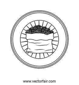 logo badge circular decorative of bag with coffee beans striped silhouette on white background