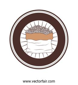 logo badge circular decorative of bag with coffee beans striped silhouette color section on white background