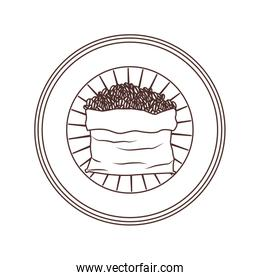 logo badge circular decorative of bag with coffee beans striped brown silhouette on white background