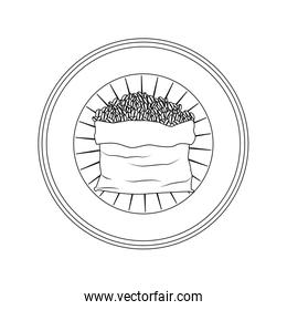 logo badge circular decorative of bag with coffee beans striped gray silhouette on white background