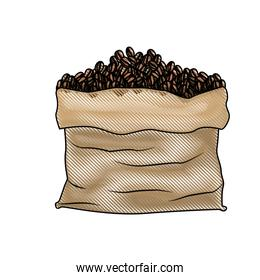 bag with coffee beans colored crayon silhouette