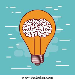 light bulb silhouette with brain inside and aquamarine color background