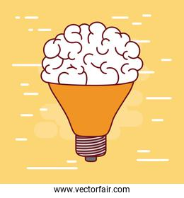 middle light bulb silhouette with brain inside and background light yellow